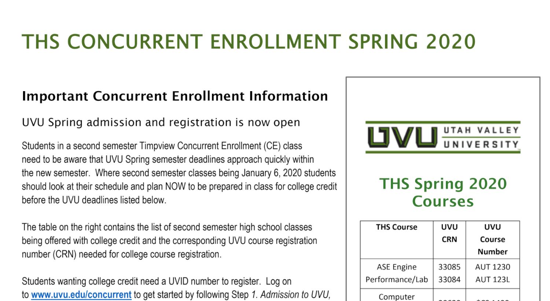 Uvu Calendar 2022.Uvu Registration For Spring 2020 Now Open Timpview High School